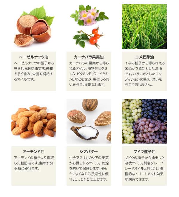 ヘーゼルナッツ油, カニナバラ果実油, コメ胚芽油, アーモンド油, , シアバター, ブドウ種子油
