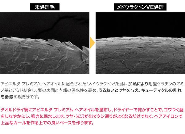 『メドウラクトンVE』は、加熱により毛髪ケラチンのアミノ基とアミド結合し、髪の表面と内部の保水性を高め、うるおいとツヤを与え、キューティクルの乱れを低減する成分